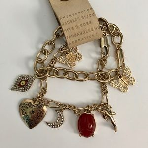 Anthropologie NWT gold charm bracelet set